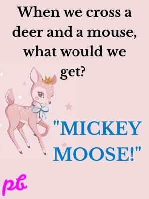When we cross a deer and a mouse, what would we get  Mickey Moose!