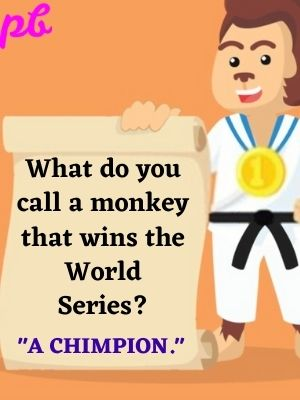 """What do you call a monkey that wins the World Series? """"A chimpion."""""""