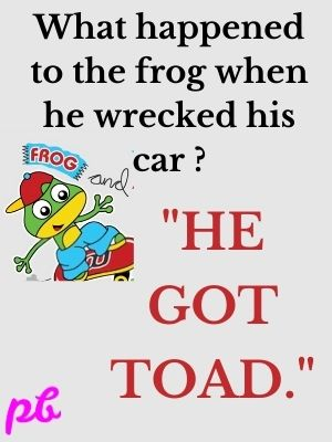 frog wrecked his car